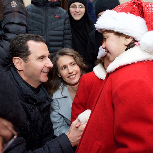 President Bashar Al-Assad, the First Lady, and their family in a visit Our Lady of Saidnaya Monastery, Christmas 2016.